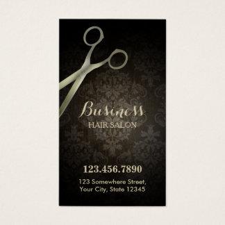 Cartes De Visite Salon de coiffure de damassé de ciseaux de la