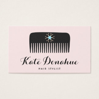 Cartes De Visite Salon de coiffure mignon de rose de peigne de