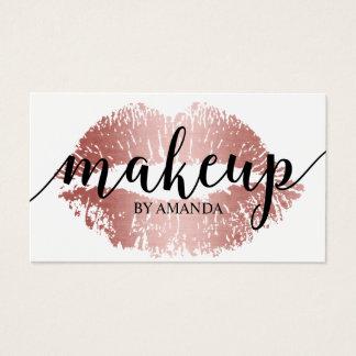 Cartes De Visite Salon rose d'impression de lèvres d'or de