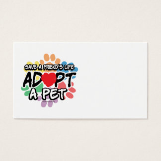 Cartes De Visite Sauvez un ami adoptent un animal familier