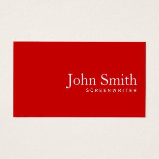 Cartes De Visite Scénariste rouge simple minimaliste