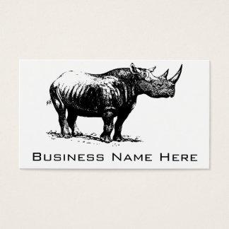 Cartes De Visite Schéma vintage noir rhinocéros