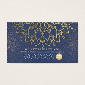 Cartes De Visite Scintillement de bleu et d'or de mandala de