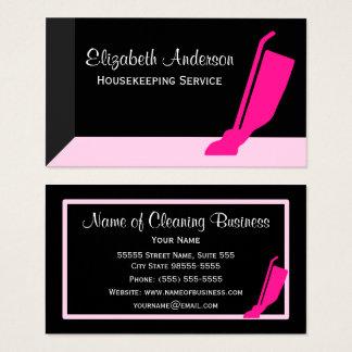 Cartes De Visite Service rose et noir de vide Girly de ménage