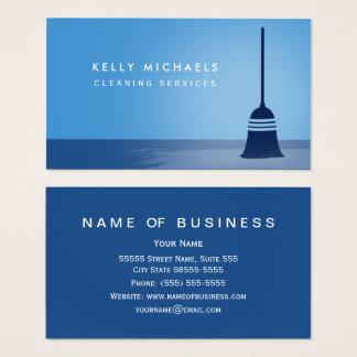 Cartes De Visite Services élégants de nettoyage de balai bleu