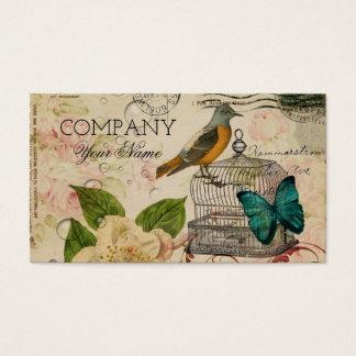 Cartes De Visite s'est levé chic minable d'oiseau français