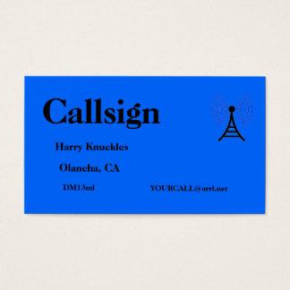 Cartes De Visite Signe amateur bleu d'appel radio