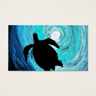 Cartes De Visite Silhouette de tortue de mer (art de K.Turnbull)