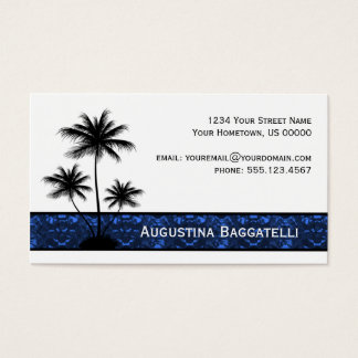 Cartes De Visite Silhouette noire de palmiers avec le bleu