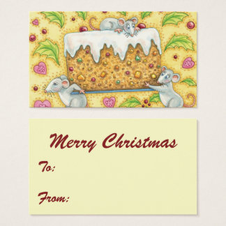 Cartes De Visite Souris mignonnes de Noël portant un dessert de