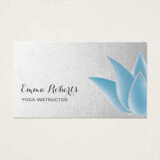 Cartes De Visite Spa curatif bleu élégant de Lotus d'instructeur de