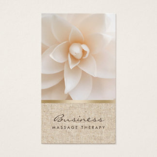 Cartes De Visite Spa curatif chic de fleur et de toile de jute de