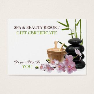 Cartes De Visite SPA et certificat-prime de station de vacances de