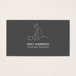 Cartes De Visite Spa gris de masseuse de thérapie de massage de