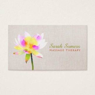 Cartes De Visite Spa holistique de Lotus NaturalHealth d'aquarelle