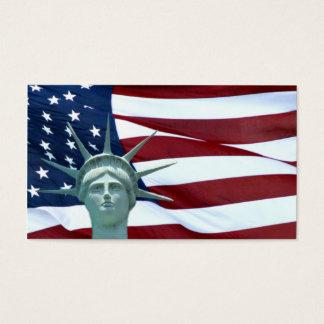 Cartes De Visite Statue de la liberté et du drapeau américain