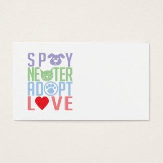 Cartes De Visite Stérilisez le neutre adoptent l'amour 2