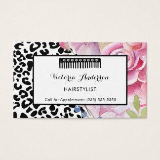 Cartes De Visite Styliste en coiffure floral d'empreinte de léopard