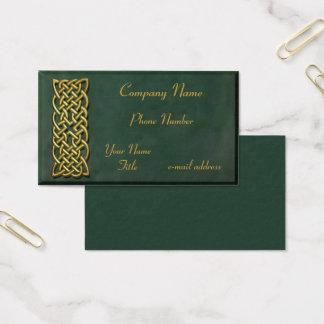 Cartes De Visite Suède vert-foncé de noeud celtique d'or