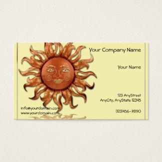 Cartes De Visite Sun en bronze sur l'arrière - plan crème
