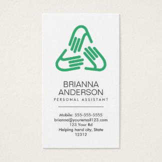Cartes De Visite Symbole de coups de main, vert, assistant