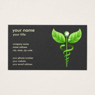 Cartes De Visite Symbole médical de médecine douce verte de caducée