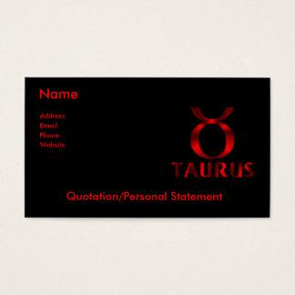 Cartes De Visite Symbole rouge d'horoscope de Taureau