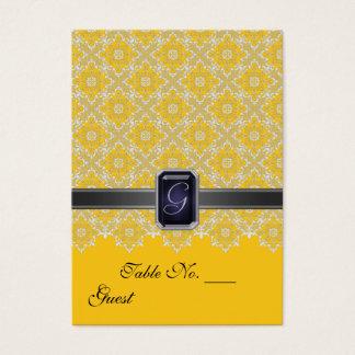 Cartes De Visite Tableau jaune et noir PlaceCard de mariage de