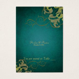 Cartes De Visite Tableau noble Placecard de rouleau de vert et d'or
