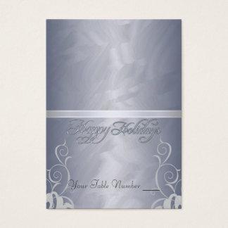 Cartes De Visite Tableau Placecard de vacances de ruban d'argent