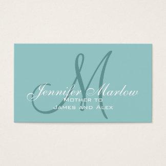 Cartes De Visite Télécarte bleue de maman de monogramme élégant