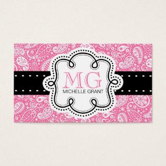 Cartes De Visite Télécarte Girly de Paisley de rose de bubble-gum