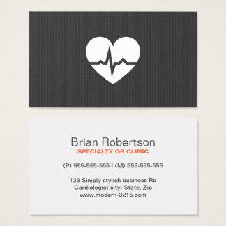 Cartes De Visite Texture moderne de gris de coeur de cardiologie de