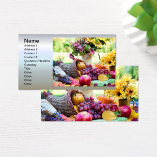 Cartes De Visite Thanksgiving Cronucopia avec des fruits et des