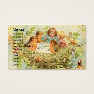 Cartes De Visite Thé vintage de nid d'oiseau