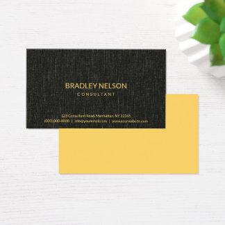 Cartes De Visite Tissu minimaliste noir professionnel de toile de