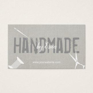 Cartes De Visite Toile argentée élégante de couture faite main de