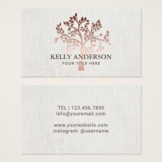 Cartes De Visite Toile élégante d'arbre rose d'or