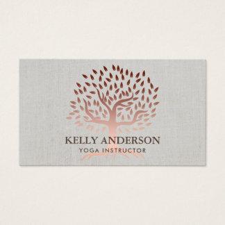 Cartes De Visite Toile élégante d'arbre rose d'or d'instructeur de