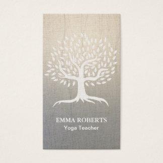 Cartes De Visite Toile élégante de zen d'arbre vintage de yoga et