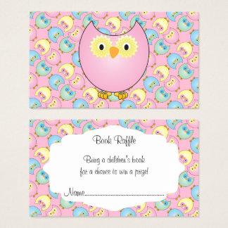 Cartes De Visite Tombola mignonne de livre de bébé de hibou de rose