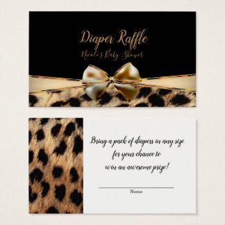 Cartes De Visite Tombola noire de baby shower de guépard de léopard