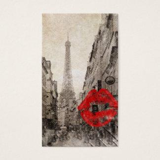 Cartes De Visite Tour Eiffel chic minable de Paris de baiser rouge