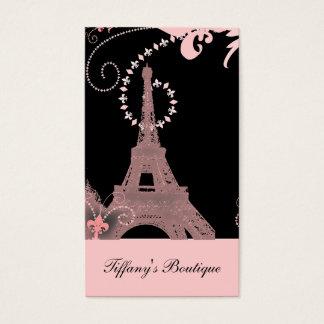 Cartes De Visite Tour Eiffel français chic minable de Paris de rose