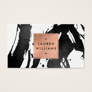 Cartes De Visite Traçages noirs abstraits avec le cadre rose d'or