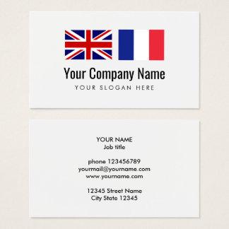Cartes De Visite Traducteur d'anglais-français de services de