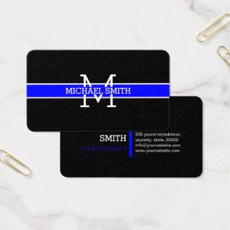 Cartes De Visite Trait horizontal bleu professionnel de monogramme