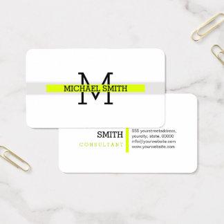 Cartes De Visite Trait horizontal Chartreuse moderne de monogramme