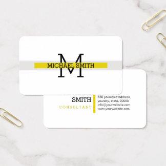 Cartes De Visite Trait horizontal citrin moderne de monogramme