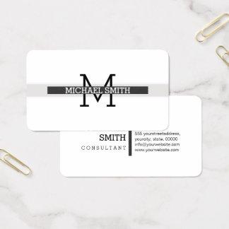 Cartes De Visite Trait horizontal de jet moderne de monogramme